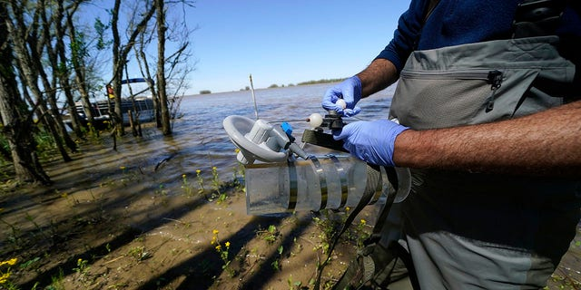 Mike Lamb, co-investigator, of the California Institute of Technology, prepares to take water samples to measure the amount of sediment in the water, in the Wax Lake area of the Atchafalaya River delta system, near Franklin, La., Friday, April 2, 2021. NASA is using high-tech airborne systems along with boats and mud-slogging work on islands for a $15 million study of these two parts of Louisiana's river delta system. (AP Photo/Gerald Herbert)
