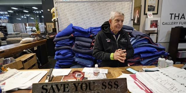 In this Feb. 17, 2021, file photo, owner Jim McIngvale talks about opening his Gallery Furniture store as a shelter in Houston. (AP Photo/David J. Phillip, File)