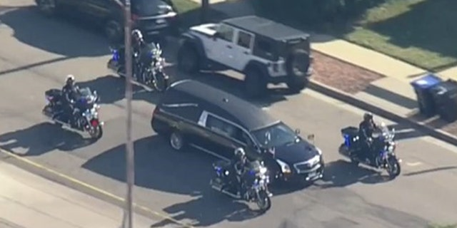 The Arvada Police Department honored Beesley with a procession hours after he was shot and killed Monday.