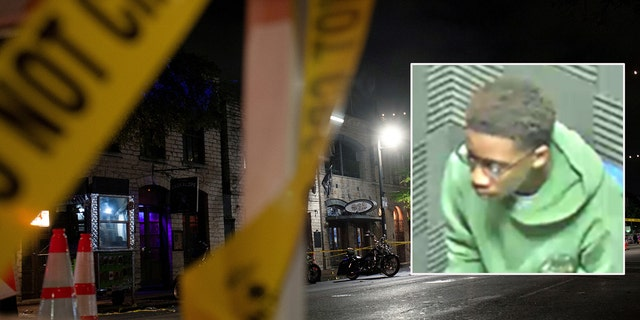 """Police investigate the scene of a mass shooting in the Sixth Street entertainment district area of Austin, Texas, on June 12, 2021. The suspect, De'ondre """"Dre"""" White, 19, (inset) was located in Killeen, Texas. (Reuters)"""