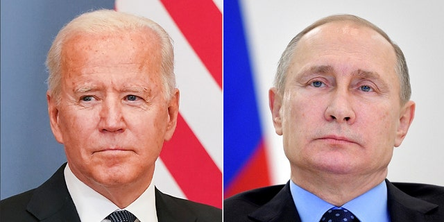 Russian President Vladimir Putin takes part in a video link in Moscow, Russia, December 27, 2016. Sputnik/Alexei Druzhinin/Kremlin via REUTERS ATTENTION EDITORS - THIS IMAGE WAS PROVIDED BY A THIRD PARTY. EDITORIAL USE ONLY/File Photo ______ U.S. President Joe Biden sits as he meets Swiss President Guy Parmelin, one day ahead of a summit with his Russian counterpart Vladimir Putin, in Geneva, Switzerland, June 15, 2021. REUTERS/Kevin Lamarque
