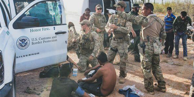 A group of migrants who rescued by border patrol agents last week.
