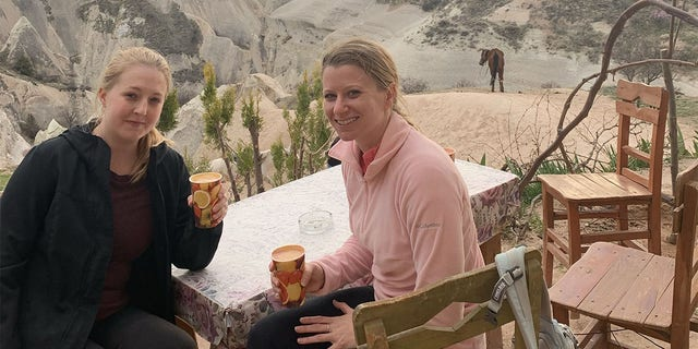 """Texas residents Sophie Miller (left) and Kristen Bishop (right) enjoyed their Turkish vacation quickly after breaking up with their boyfriend """"Adam"""" at an Istanbul airport.  The two women were strangers to each other before the trip."""