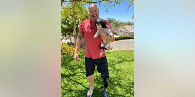 Chappie Hunter says he could relate to Chloe's challenging road to recovery. The San Diego Police Department detective lost his left leg from a car crash in Alpine eight years ago and has worn a prosthetic leg ever since. (San Diego Humane Society)