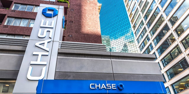 Facade of a branch office of Chase Bank in Manhattan, New York City, USA