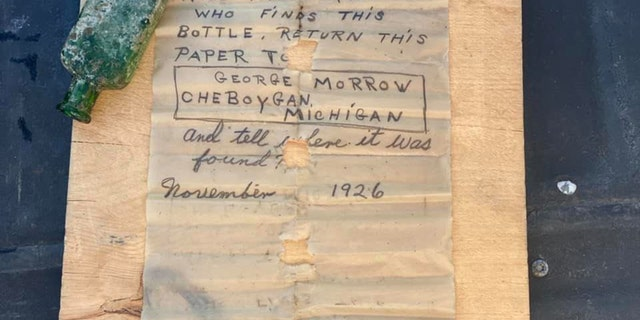 The note was dated from November 1926 and the writer, George Morrow, asked that the finder return the note to him.
