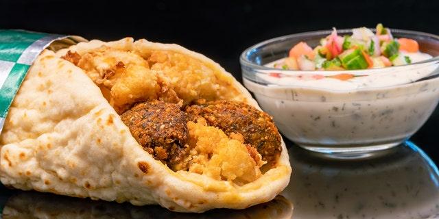 A chicken shawarma wrap at Shawarma Palace.