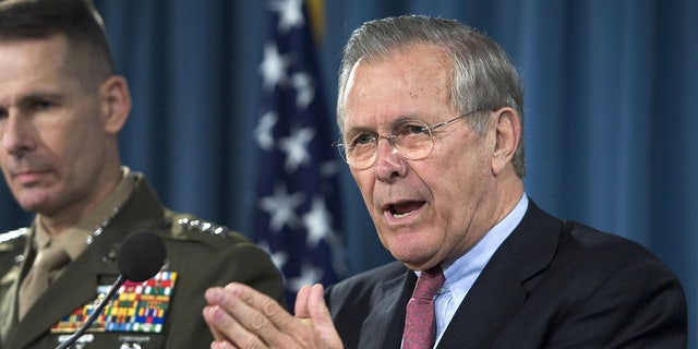 Then-Secretary of Defense Donald Rumsfeld during a briefing with Chairman of the Joint Chiefs of Staff, Marine General Peter Pace, at the Pentagon March 7, 2006 in Arlington, Virginia.