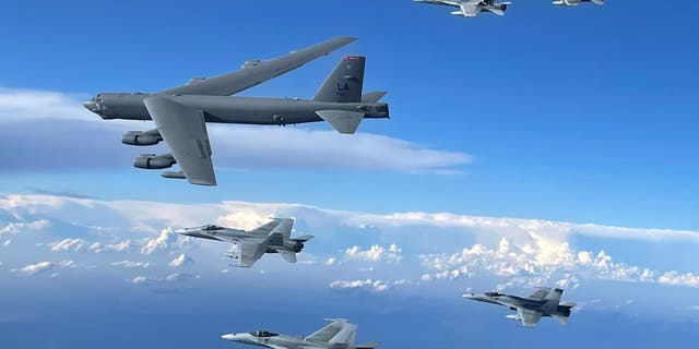 B52 aircraft integrated with fighters from Spain and Portugal this week during a Bomber Task Force mission.