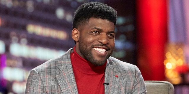 Emmanuel Acho filled in for Harrison during the final episode of the most recent season of 'The Bachelor.' (Craig Sjodin via Getty Images)