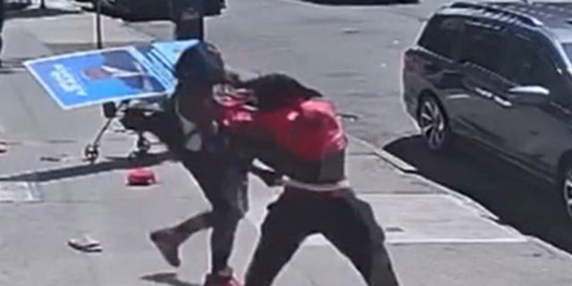 Photo from the surveillance video showing the stabbing of New York mayoral candidate Eric Adams that took place on June 20, 2021 in the South Bronx (New York Post)