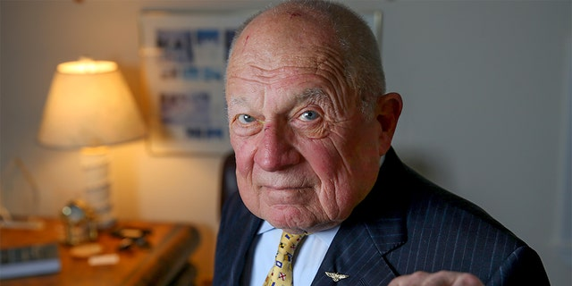 Famed trial lawyer F. Lee Bailey poses in his office in Yarmouth, Maine., on June 29, 2016. (Photo by Jonathan Wiggs/The Boston Globe via Getty Images)