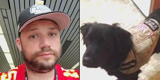 """Die veteraan, Ryan Foster, and his service dog """"Skoonheid"""""""