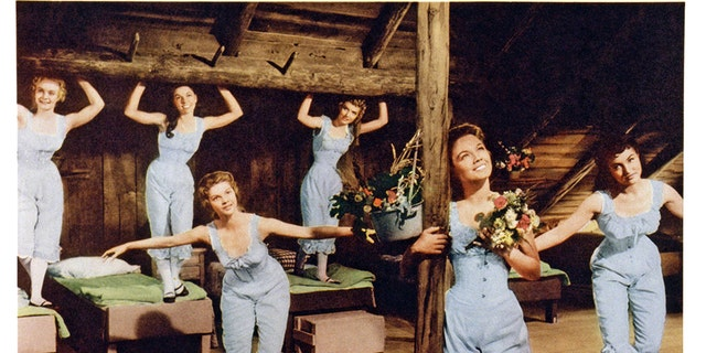 Front from left: Norma Doggett, Virginia Gibson, Julie Newmar, rear from left: Nacy Kilgas, Betty Carr, Ruta Lee, 1954.