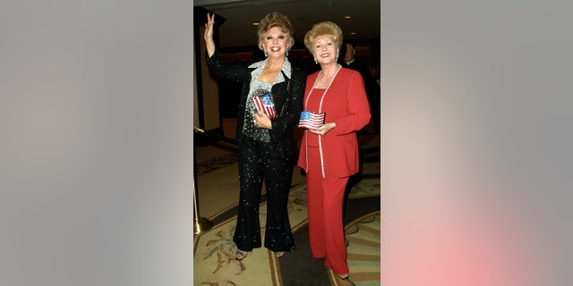 Actress Ruta Lee (L) and actress Debbie Reynolds attend the 46th Annual Thalians Ball on October 13, 2001, in Los Angeles, CA. The gala benefits the Thalians Mental Health Center at Cedars-Sinai Medical Center.