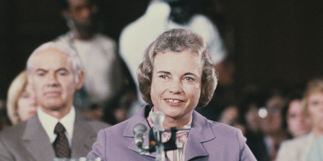 Arizona judge Sandra Day O'Connor testifies at her confirmation as associate justice of the U.S. Supreme Court before the Senate Judiciary Committee, in Washington, September 1981. (Getty Images)