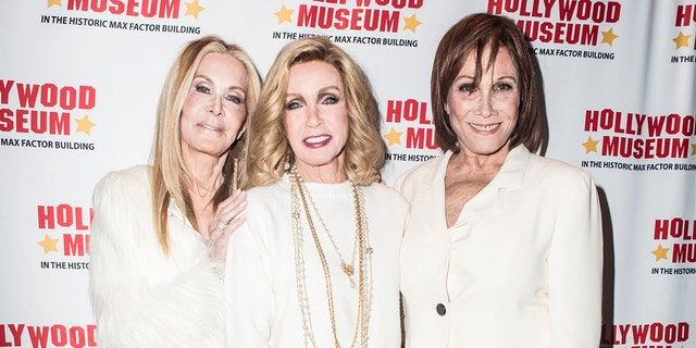 From left: Joan Van Ark, Michele Lee and Donna Mills attend the Hollywood Museum's 40th Anniversary Of 'Knots Landing' Unveiling Costumes Exhibit at The Hollywood Museum on January 18, 2020, in Hollywood, California.
