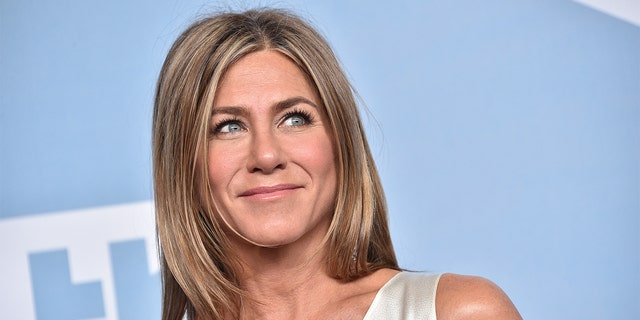 Jennifer Aniston, winner of Outstanding Performance by a Female Actor in a Drama Series for 'The Morning Show', poses in the press room during the 26th Annual Screen ActorsGuild Awards at The Shrine Auditorium on January 19, 2020, in Los Angeles, California.