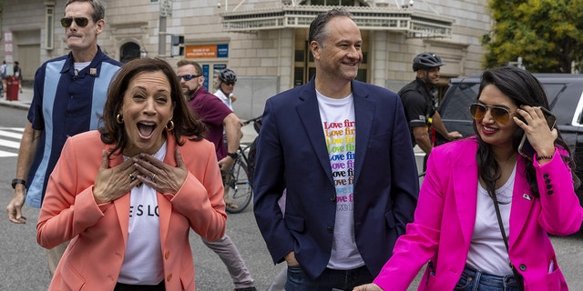 Vice President Kamala Harris, left, and second gentleman Douglas Emhoff, center, attend the Capitol Pride Walk and Rally in Washington, D.C., on Saturday, June 12, 2021. (Getty Images)