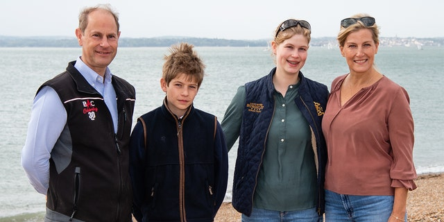 Prince Edward, Earl of Wessex, Sophie, Countess of Wessex, James, Viscount Severn and Lady Louise Windsor take part in the Great British Beach Clean on Southsea beach on Sept. 20, 2020, in Portsmouth, England.