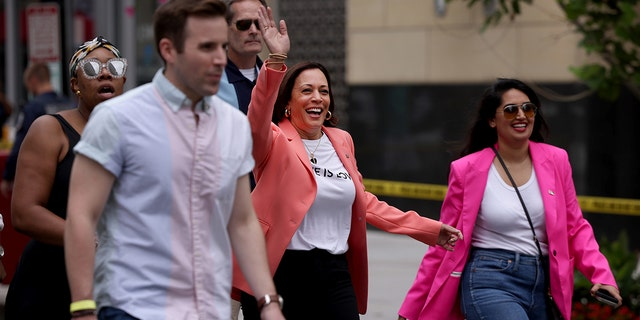 Vice President Kamala Harris arrives to join marchers in the Capitol Pride Parade on June 12, 2021 in Washington, D.C. (Getty Images)