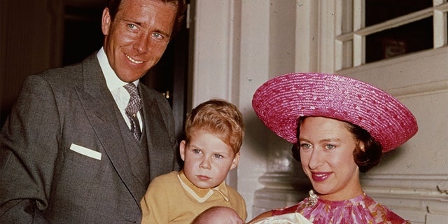 Princess Margaret (1930 - 2002) with Lord Snowdon and Viscount Linley at Kensington Palace shortly after the birth of her daughter, Lady Sarah Armstrong-Jones.