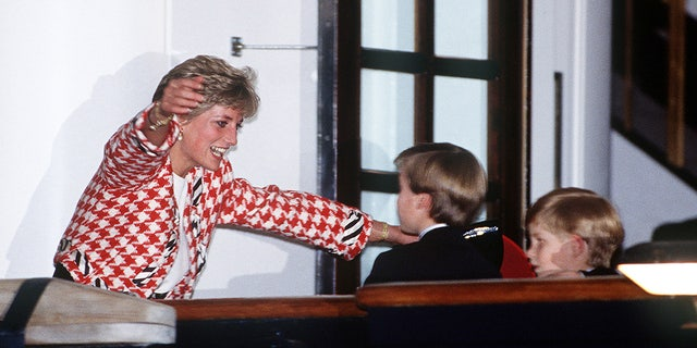 The Princess of Wales welcomes her sons Prince William and Prince Harry to the deck of the yacht Britannia in Toronto, when they joined their parents on an official visit to Canada on October 23, 1991.