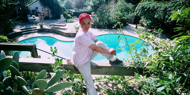 Eartha Kitt poses for a photograph in the garden of her Beverly Hills home on December 14, 1982, in Beverly Hills, California.