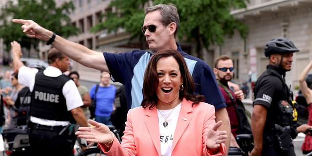 Vice President Kamala Harris joins marchers for the Capital Pride Parade on June 12, 2021 in Washington, D.C. (Getty Images)