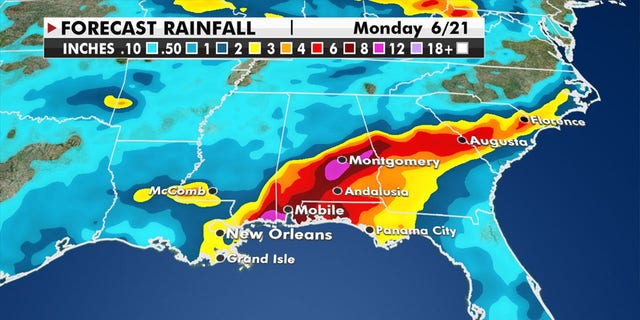 Rainfall and flooding is expected to impact the northern Gulf Coast on Friday, spreading into the Southeast