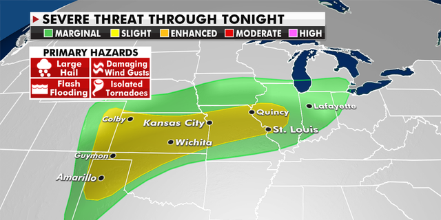 Severe storms and floods will threaten the Central Plains and the Midwest