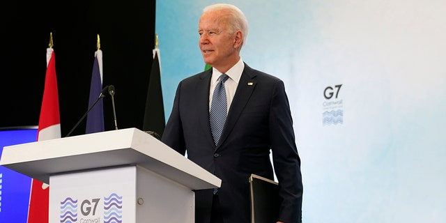 President Joe Biden departs after speaking at a news conference after attending the G-7 summit, Sunday, June 13, 2021, at Cornwall Airport in Newquay, England. (AP Photo/Patrick Semansky)