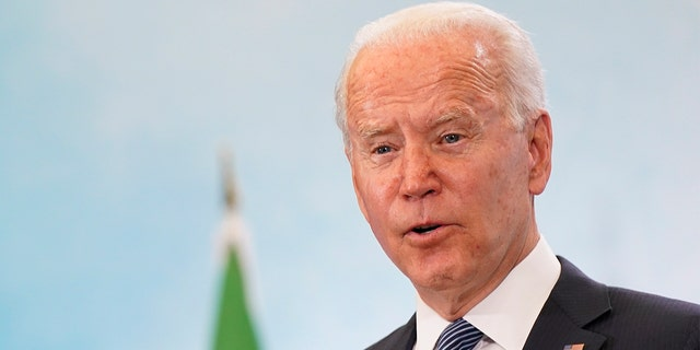 President Joe Biden speaks during a news conference after attending the G-7 summit, Sunday, June 13, 2021, at Cornwall Airport in Newquay, England. (AP Photo/Patrick Semansky)