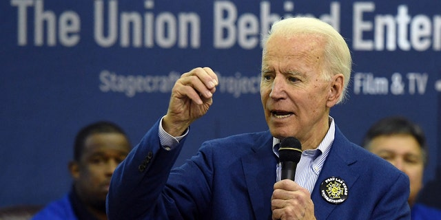 LAS VEGAS, NEVADA - FEBRUARY 21: Then Democratic presidential candidate Joe Biden speaks before a training session for precinct captains at the International Alliance of Theatrical Stage Employees on February 21, 2020 in Las Vegas, Nevada. Biden's close ties with unions are now under scrutiny by Republicans. (Photo by Ethan Miller/Getty Images)