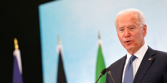 President Joe Biden speaks during a news conference after attending the G-7 summit, Sunday, June 13, 2021, at Cornwall Airport in Newquay, England.