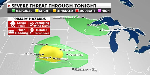 The Storm Prediction Center has issued a slight warning for severe weather conditions in Nebraska on Wednesday.