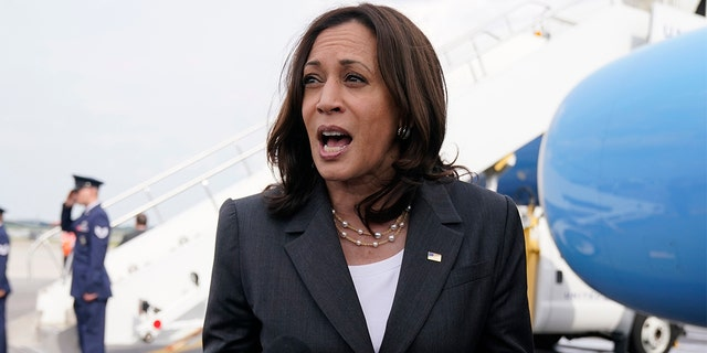 Vice President Kamala Harris speaks to members of the media before boarding Air Force Two, Friday, June 18, 2021, to depart Atlanta and return to Washington. (AP Photo/Jacquelyn Martin)