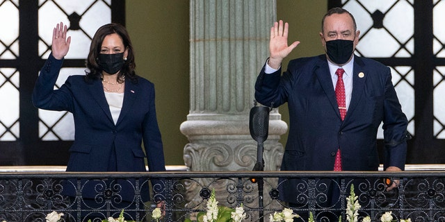 Vice President Kamala Harris and Guatemalan President Alejandro Giammattei, pose for an official photograph, Monday, June 7, 2021, at the National Palace in Guatemala City. (AP Photo/Jacquelyn Martin)