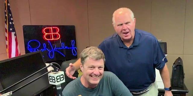 WHP-580 Harrisburg host Ken Matthews meets syndicated radio host Rush Limbaugh in this undated photo at his Palm Beach studio.  Courtesy: Ken Matthews.