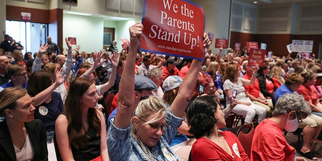 Parents protest critical race theory at a recent school board meeting in Loudoun County, Virginia.