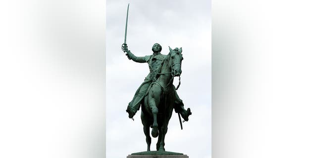 A statue honoring Lafayette in Paris, France.