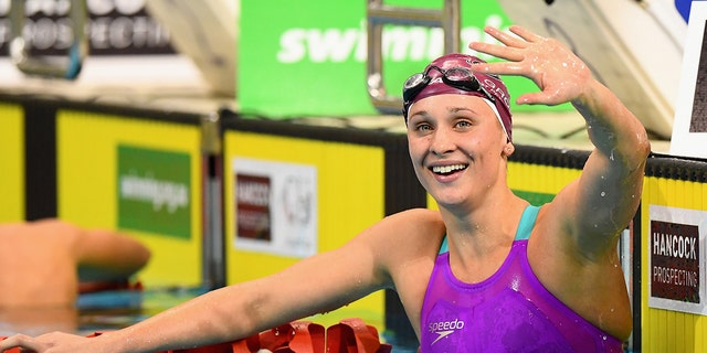 Madeline Groves of Australia celebrates winning the Women's 200 Metre Butterfly during day four of the Australian Swimming Championships at the South Australian Aquatic & Leisure Centre on April 10, 2016 in Adelaide, Australia. (Photo by Quinn Rooney/Getty Images)