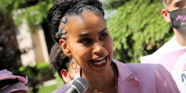 Democratic candidate for New York City Mayor Maya Wiley speaks to voters and media while campaigning at the Co-op City housing complex in the Bronx borough of New York City, New York, U.S., June 7, 2021. REUTERS/Mike Segar