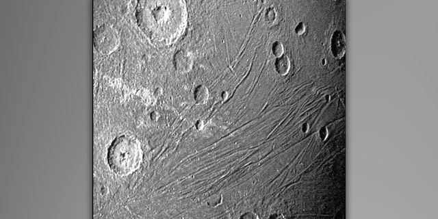 This image of the dark side of Ganymede was obtained by Juno's Stellar Reference Unit navigation camera during its June 7, 2021, flyby of the moon.