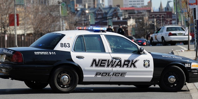 A Newark Police Department car parked in a street in Newark, New Jersey (STAN HONDA/AFP via Getty Images)