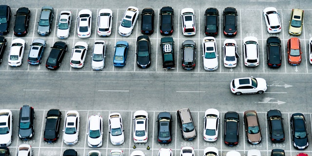 Aerial view of cars in a parking lot