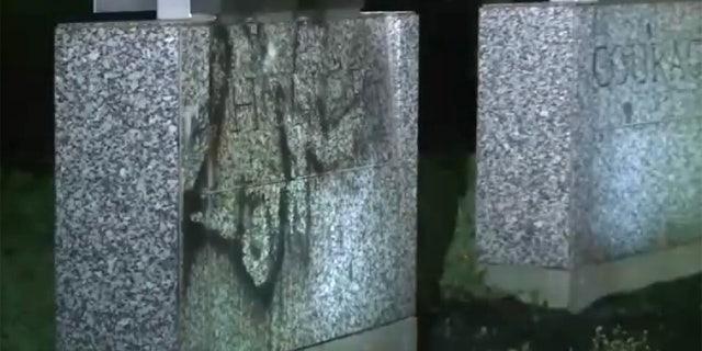 Vandalism at Providence War Memorial.