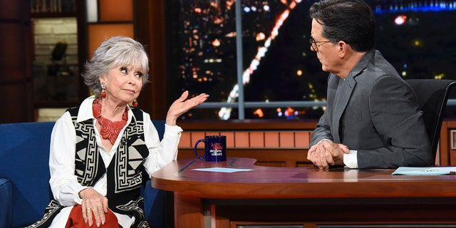 The Late Show with Stephen Colbert and guest Rita Moreno during Tuesday's June 15, 2021 show.