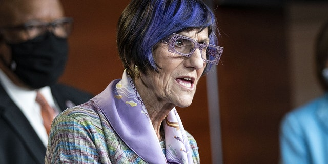 Representative Rosa DeLauro, a Democrat from Connecticut and chairwoman of the House Appropriations Committee, speaks during a news conference at the U.S. Capitol in Washington, D.C., U.S., on Wednesday, May 19, 2021. (Al Drago/Bloomberg via Getty Images)