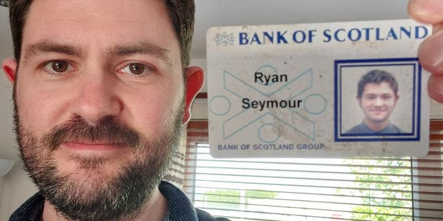 Ryan Seymour, 37, poses beside his younger self with his old Bank of Scotland ID card. The card was lost 20 years ago when Seymour's wallet was stolen in a pub bathroom. (Ryan Seymour)